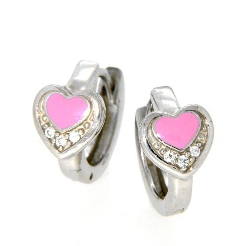 Scharniercreolen Silber 925 rhodiniert rosa Herz
