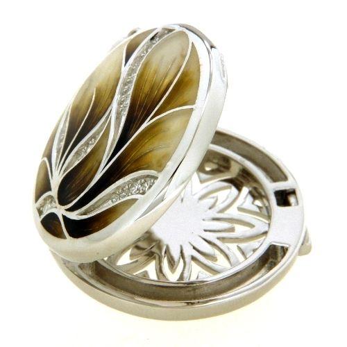 Medaillon Silber 925 rhodiniert Emaille Zirkonia