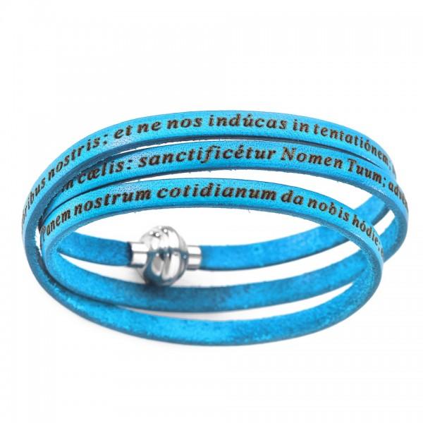 AMEN Armband 60 cm Leder türkis VATER UNSER Latein PNLA13-60