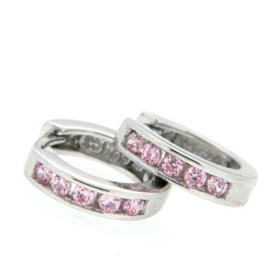 Scharniercreolen Silber 925 rhodiniert Zirkonia rosa