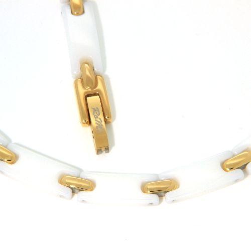 Kette Edelstahl IP Gold Keramik weiß 48 cm
