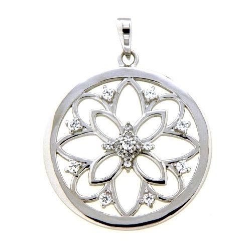 Anhänger Silber 925 rhodiniert Lebensblume Zirkonia
