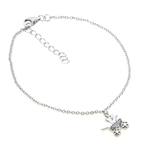 Armband Silber 925 rhodiniert 17+3 cm Kinderwagen Zirkonia