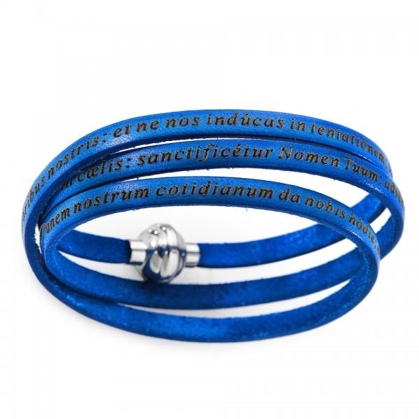 AMEN Armband 57 cm Leder blau VATER UNSER Latein PNLA06-57