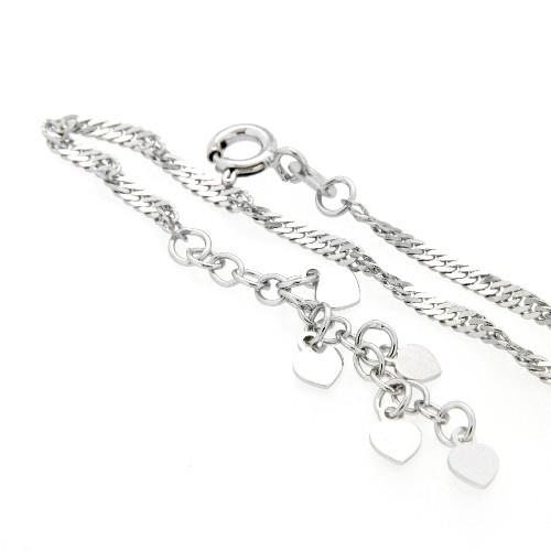 Fußkette Silber 925 rhodiniert mit Herzchen