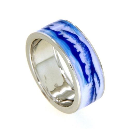 Ring Silber 925 rhodiniert Emaille Weite 60