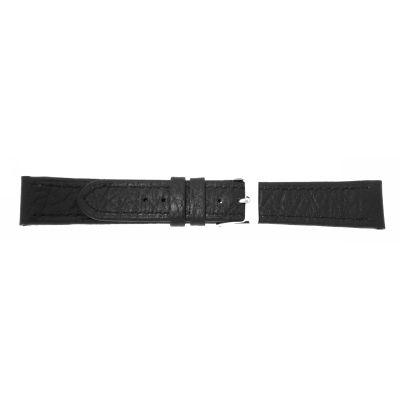 Uhrarmband Leder 12mm schwarz Edelstahlschließe