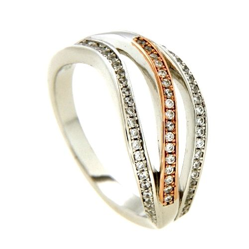 Ring Silber 925 rhodiniert & rosé vergoldet Weite 60 Zirkonia