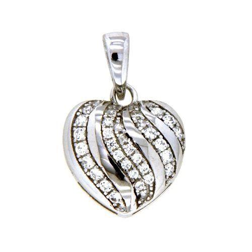 Herzanhänger Silber 925 rhodiniert Zirkonia