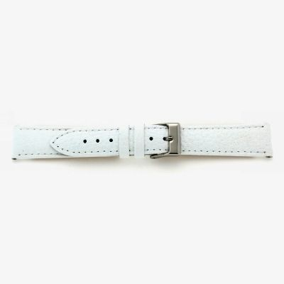 Uhrarmband Leder 22mm weiß Edelstahlschließe