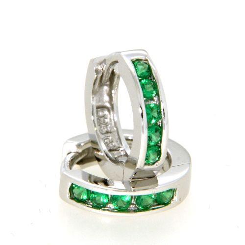 Scharniercreolen Silber 925 rhodiniert Zirkonia grün