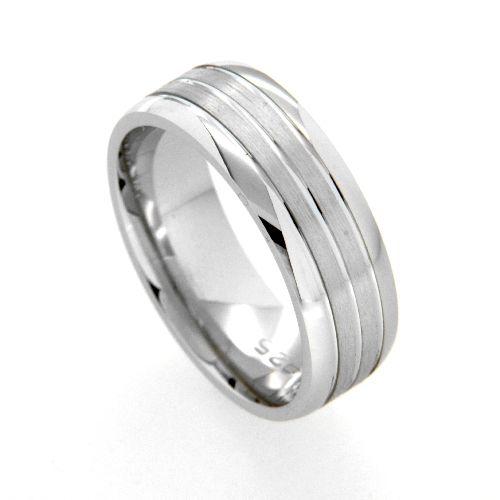 Freundschaftsring Silber 925 rhodiniert Breite 7 mm Weite 56