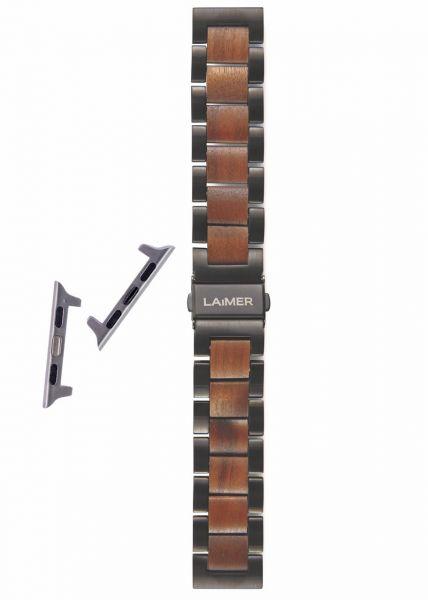 LAiMER Uhrband Walnussholz 20 mm für Apple Watch 38/40 mm