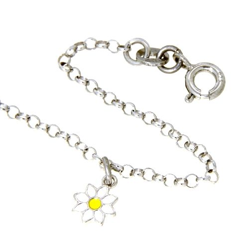 Kinderarmband Silber 925 rhodiniert 16-14 cm Blume