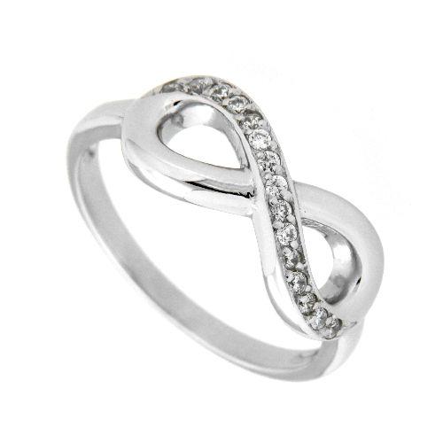 Ring Silber 925 rhodiniert Zirkonia unendlich Weite 52