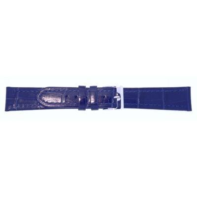 Lederband 22mm dunkelblau Edelstahlschließe
