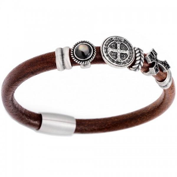 AMEN Armband 20,5 cm Leder BR705-L