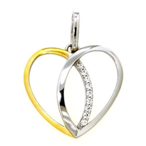 Herzanhänger Silber 925 rhodiniert & vergoldet Zirkonia