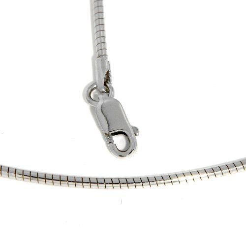 Omega Halsreifen Silber 925 rhodiniert 1,5mm 42 cm