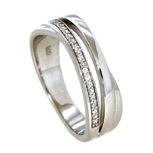Ring Silber 925 rhodiniert Weite 62 Zirkonia