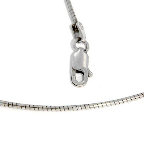 Omega Halsreifen Silber 925 rhodiniert 1,2mm 42 cm