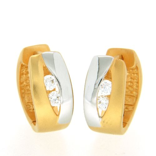 Scharniercreolen Silber 925 rhodiniert & vergoldet