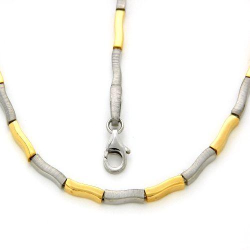 Kette Silber 925 bicolor rhodiniert & vergoldet 45 cm