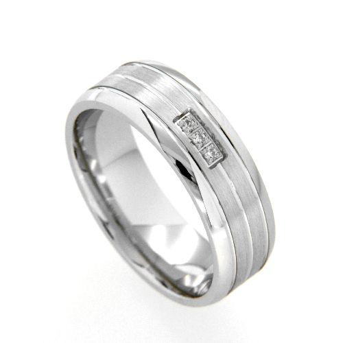 Freundschaftsring Silber 925 rhodiniert Zirkonia Breite 7 mm Weite 53