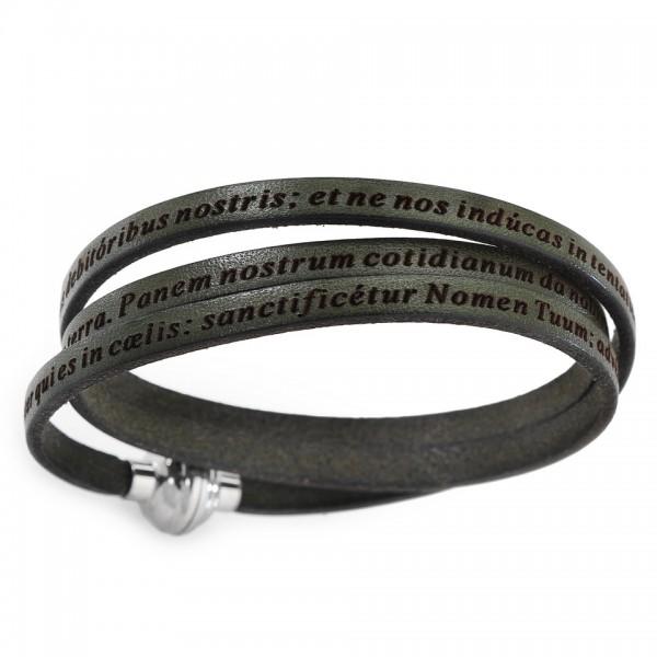 AMEN Armband 54 cm Leder dunkelgrün VATER UNSER Latein PNLA15-54