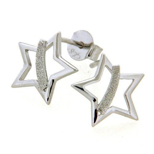 Ohrstecker Silber 925 rhodiniert Stern