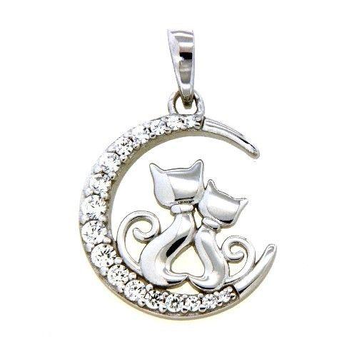 Anhänger Silber 925 rhodiniert Katzen im Mond Zirkonia