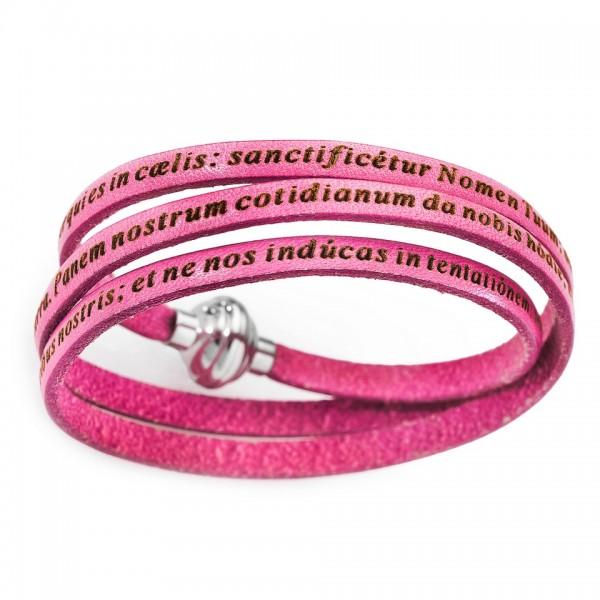 AMEN Armband 60 cm Leder pink VATER UNSER Latein PNLA04-60