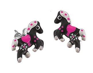 SCOUT Ohrschmuck silber, schwarz, weiß, pink Pferde 262093100