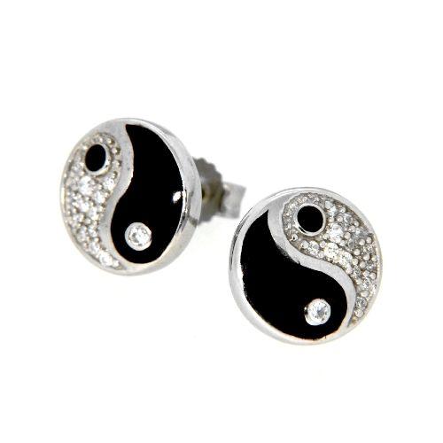 Ohrstecker Silber 925 rhodiniert Yin und Yang Zirkonia Lack schwarz