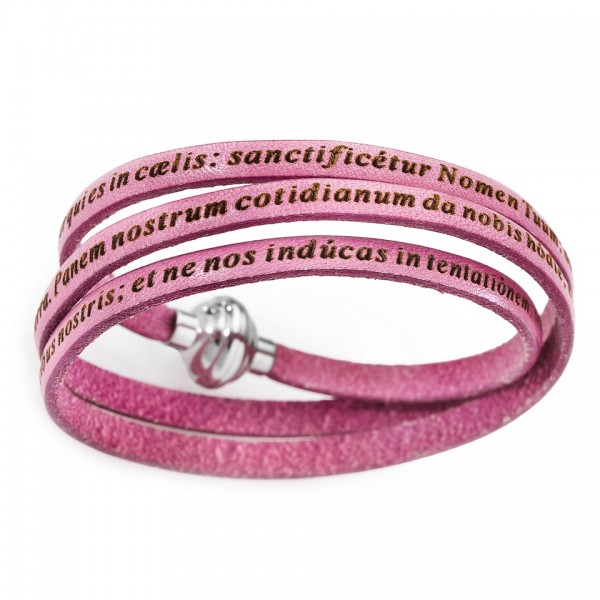 AMEN Armband 54 cm Leder rosa VATER UNSER Latein PNLA18-54