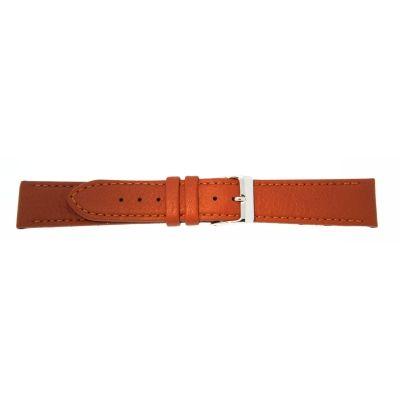 Uhrarmband Leder 20mm extralang (XL) schwarz Edelstahlschließe