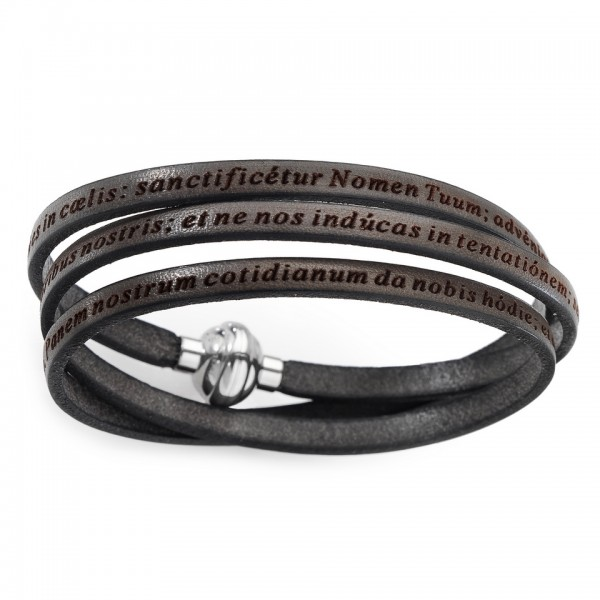 AMEN Armband 60 cm Leder braun VATER UNSER Latein PNLA16-60