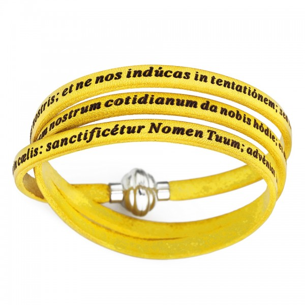AMEN Armband 60 cm Leder gelb VATER UNSER Latein PNLA11-60