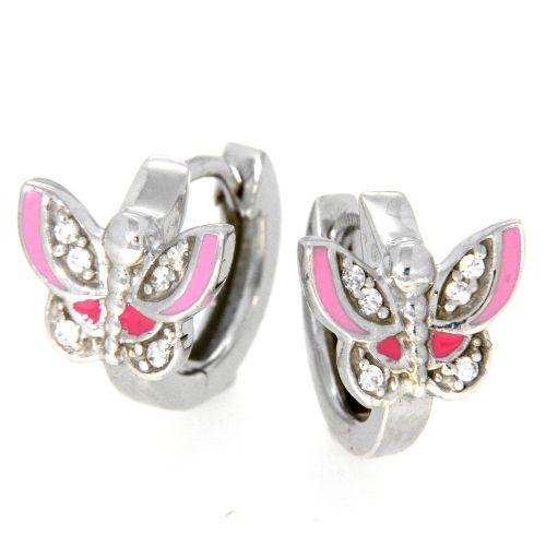 Scharniercreolen Silber 925 rhodiniert Schmetterling rosa / pink