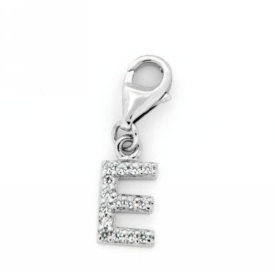 Buchstaben-Charm E Silber 925 rhodiniert