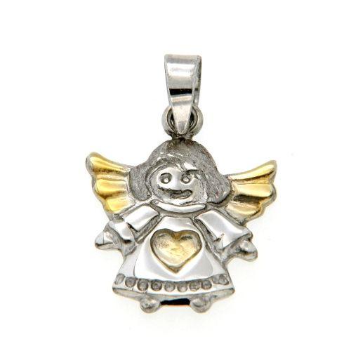Anhänger Silber 925 rhodiniert Engel bicolor