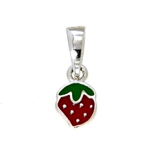 Anhänger Silber 925 rhodiniert Erdbeere