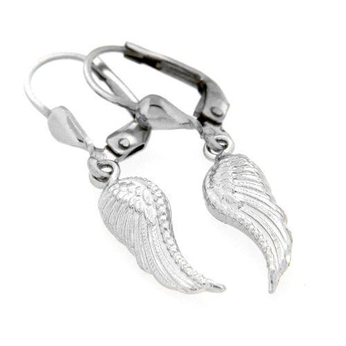 Ohrpendel Silber 925 rhodiniert Engelsflügel