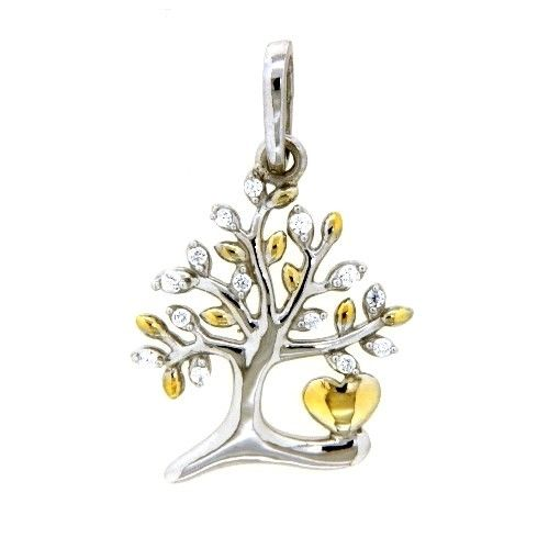 Anhänger Silber 925 rhodiniert & vergoldet Lebensbaum Zirkonia