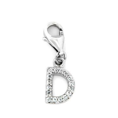 Buchstaben-Charm D Silber 925 rhodiniert