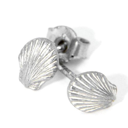 Ohrstecker Silber 925 rhodiniert Muschel
