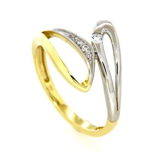 Ring Gold 333 Weite 60 Zirkonia bicolor