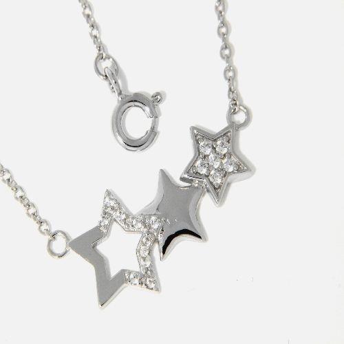 Collier Silber 925 rhodiniert 42 cm + 3 cm Sterne