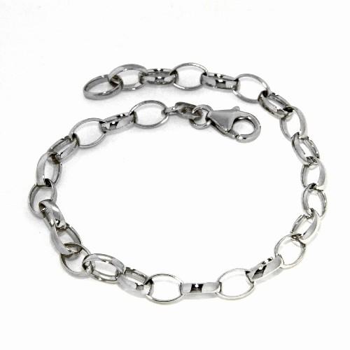 Armband Weitanker Silber 925 rhodiniert 21 cm