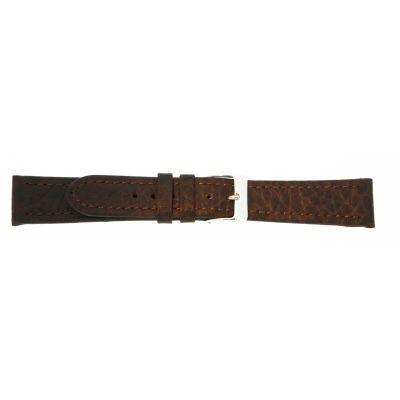 Uhrarmband Leder 20mm dunkelbraun Edelstahlschließe
